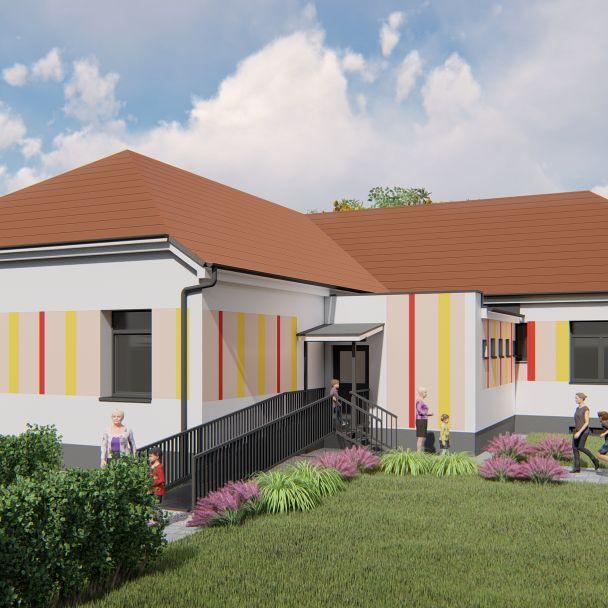 Vizualizácie obnovy obecného úradu a pôvodnej budovy MŠ